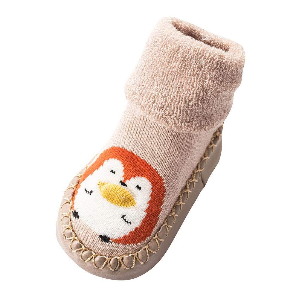 NUWFOR Newborn Baby Boys Girls Cartoon Cute Warm Floor Socks Anti-Slip Baby Step Socks(Beige,6-9Months)