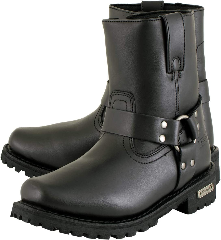 Xelement 2502 Shorty Womens Black Zipper Harness Motorcycle Boots 9