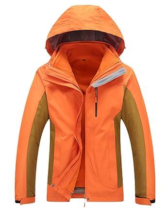 Qitun Hombre Mujer Chaqueta 3 en 1 Impermeable Chaqueta de Montaña y Chaqueta de Abrigo al Aire Libre Naranja Hombre XS: Amazon.es: Ropa y accesorios