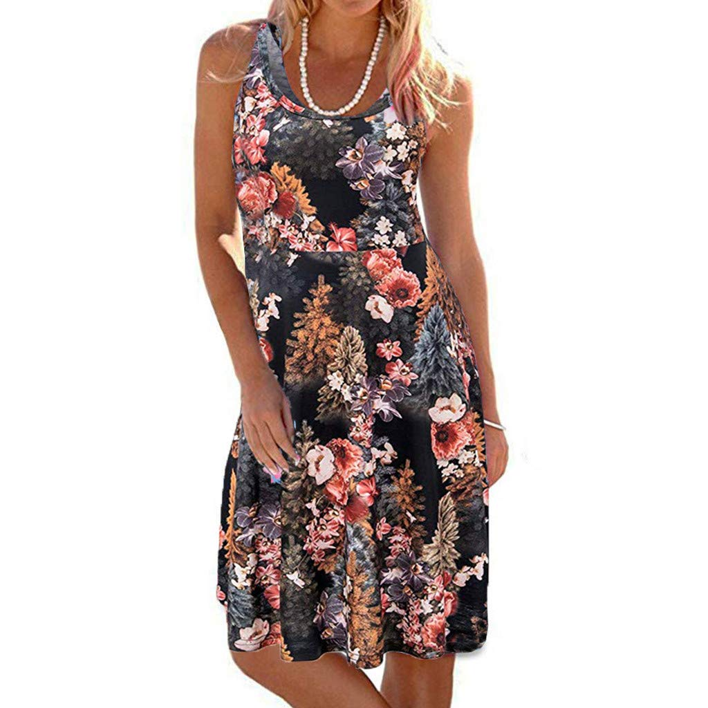 TWGONE Tank Dresses For Women Plus Size Casual Sleeveless Scoop Neck Printed Mini Beach Dress (Large,Black)