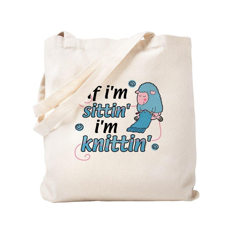 CafePress – Knitting Sitting Sheepニットバッグ – ナチュラルキャンバストートバッグ、布ショッピングバッグ S ベージュ 0438947303DECC2 B0773Q7GCW S