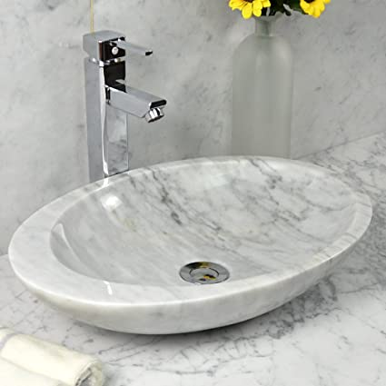 Stone Vessel Sink Oval Polished White Marble Vessel Sink Basin, Offset Rim, Natural  Stone