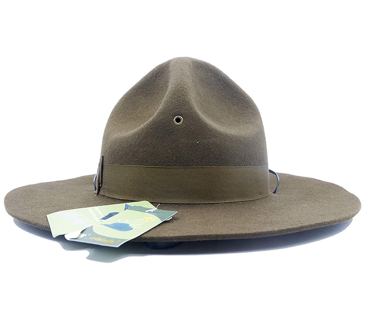 Amazon.com  Military Campaign Hat Drill Sergeant Instructor Mountie Ranger  Hat 100% Wool Olive  Clothing b248f53c824