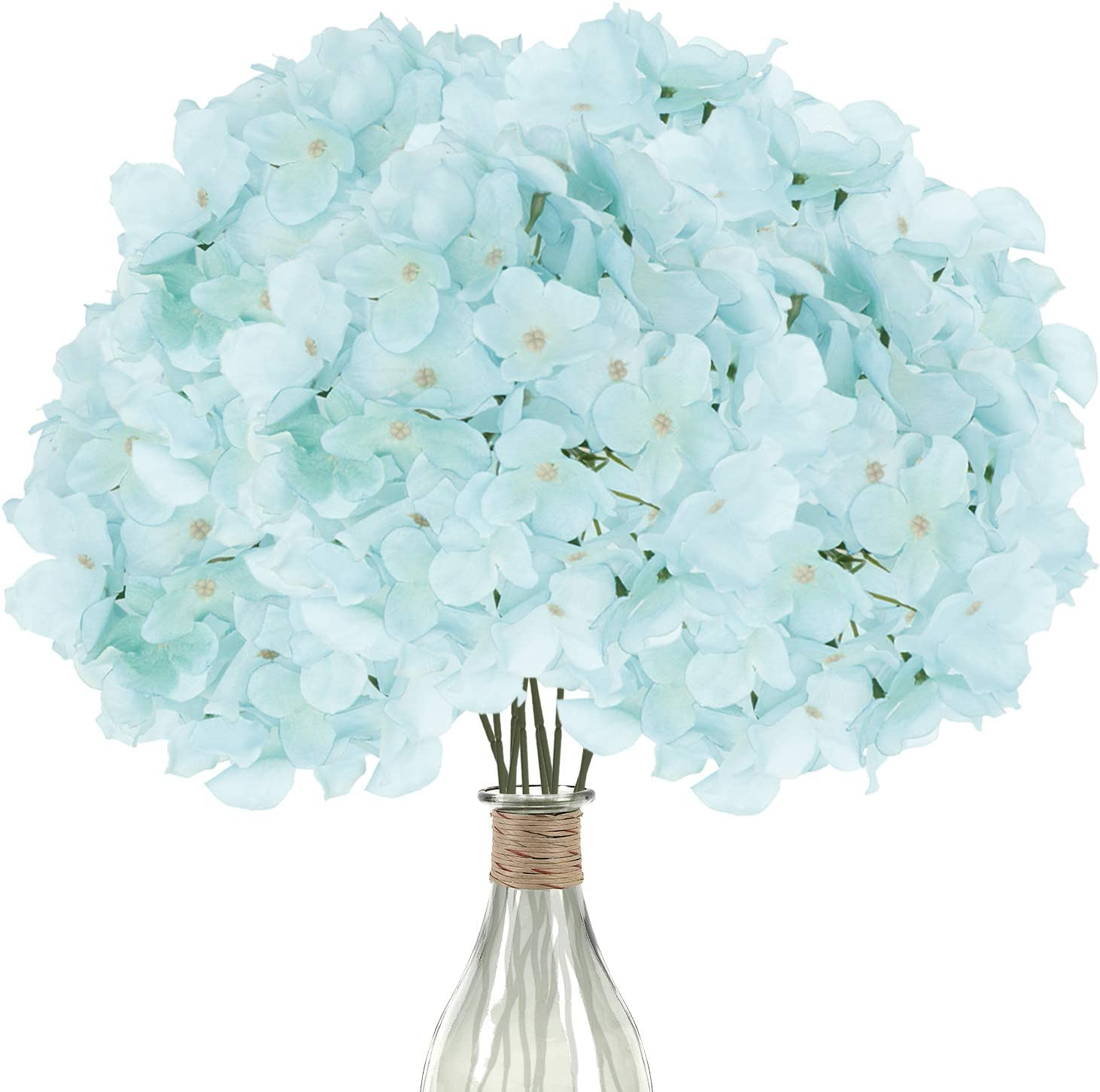 Elfii 10 Pack Silk Hydrangea Heads Artificial Flowers Heads with Stems for Home Wedding Party Decor Bride Holding Flowers Bouquet Baby Shower Decoration Centerpiece DIY Wreath Craft - Robin's egg blue