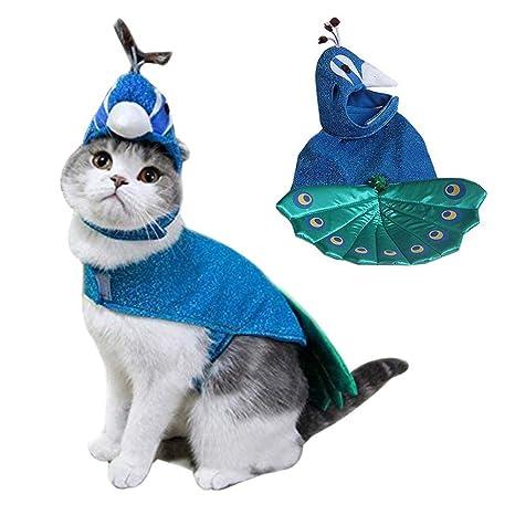 BABYSq Disfraces De Mascotas, De Lujo Azul Pavo Real De Halloween Cosplay Vestido