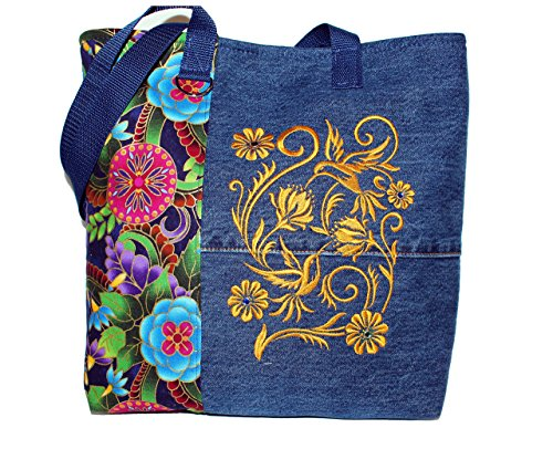 Tote Bag- 'Hummingbird Garden' – A recycled denim, embroidered, lined totebag. Eco-Friendly handbags