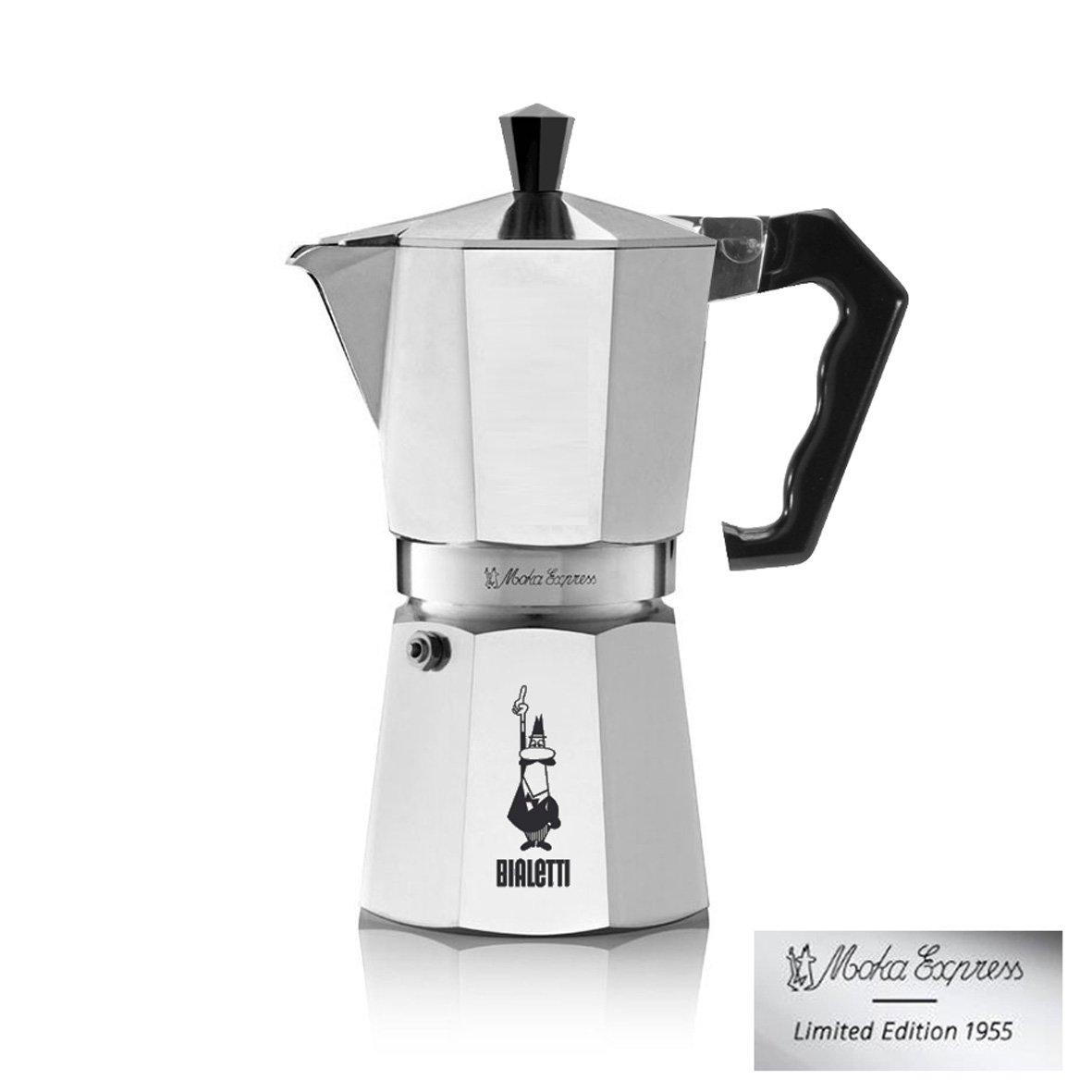 Bialetti 6008 Espressokocher 6 Tassen, Aluminium, schwarz, 30 x 20 x 15 cm