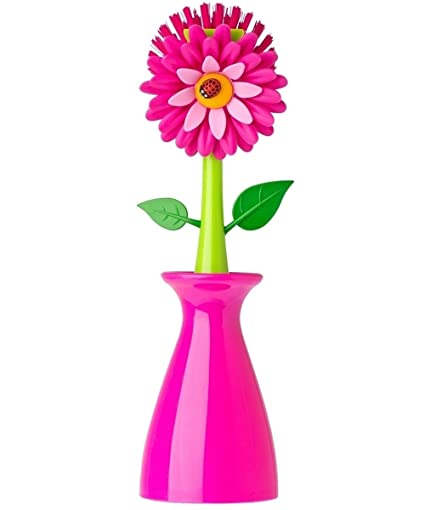 Amazon vigar flower power pink dish brush with vase 10 inches vigar flower power pink dish brush with vase 10 inches pink green mightylinksfo