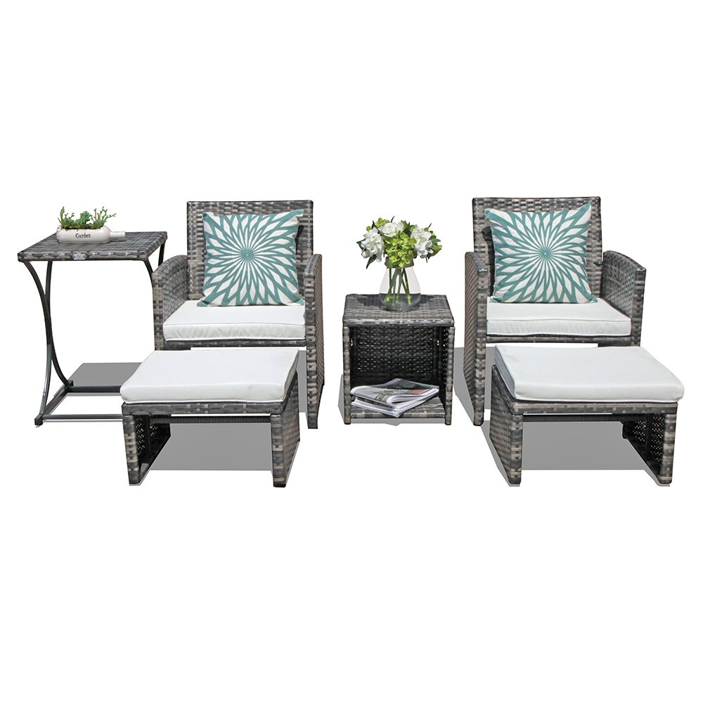 Orange casual patio 6 pieces wicker conversation set outdoor furniture sets with side table ottoman all weather grey rattan and beige polyester cushion