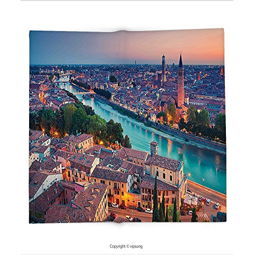 Verona Tv Chest (Custom printed Throw Blanket with European by Verona Italy During Summer Sunset Blue Hour Adige River Medieval Historcal Aqua Coral Green Super soft and Cozy Fleece Blanket)