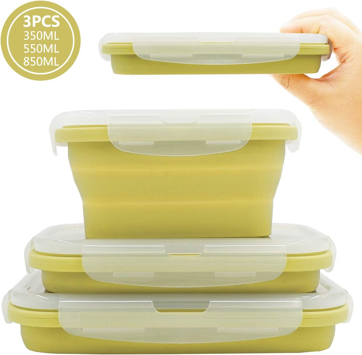 Duoyou Collapsible Silicone Lunch Bento Box, Portable Food Storage Container Outdoor Picnic Box Space Saving, Microwave, Dishwasher and Freezer Safe, 3 Pcs Set (Green)