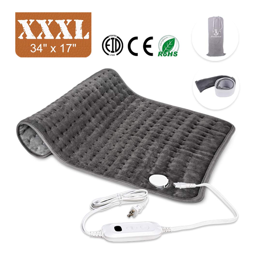 Heating Pad, Ultra-Large Heating Pads for Back Pain Auto Shut Off, Fast Heating Technology, Six Heat Settings, Machine-Washable, Micro Plush/Soft Touch, Elastic Band and Storage Bag Included by Anbber