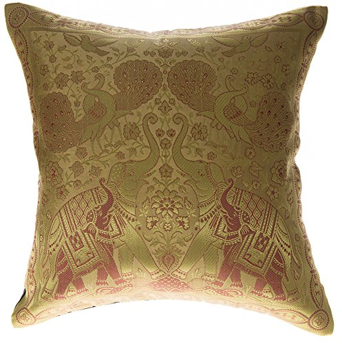 Avarada 16x16 Inch  India Elephant Decorative Throw Pillow C
