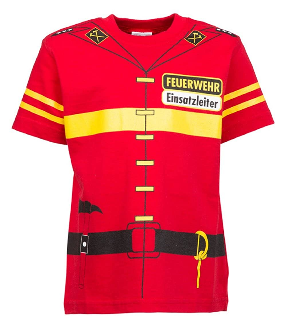 Bambini Uniforme T Shirt Vigili del fuoco (rosso) Kts-0002