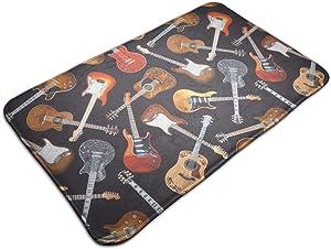 Welcome Doormat - Non-Slip Entrance Floor Rug - Easy Clean Rug Mats for Entry - Machine Washable Indoor Carpet Doormats with Guitar, 19.5''Wx31.5''L