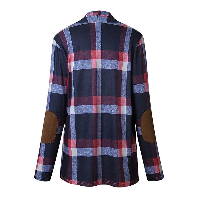 Highdas Damen Kariertes Hemd Langarmshirt Cardigan Karierte Bluse Lang  Hemden Oberteil Tops Plaid Shirts Oversize Blusen Cardigan Grau Blau S M L  XL  ... 039d7d8563