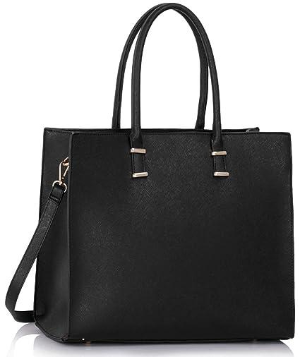30cc04e4c19d Amazon.com  LeahWard Large Size Tote Bags For Women Designer Shoulder Bag  College Holiday Handbags A4 CW319 (Black)  Clothing