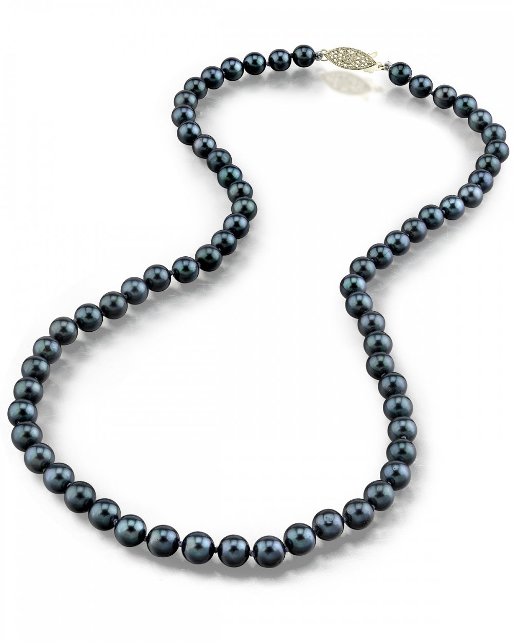 14K Gold 5.0-5.5mm Black Akoya Cultured Pearl Necklace - AA+ Quality, 17'' Princess Length