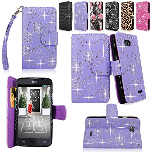 Cellularvilla Wallet Case for LG Optimus L70 (MetroPCS) MS323 / Optimus Exceed II (Verizon) VS450 / Dual D325 Pu Leather Shiny Glitter Wallet Card Flip Open Pocket Case Cover Pouch (Purple Glitter)