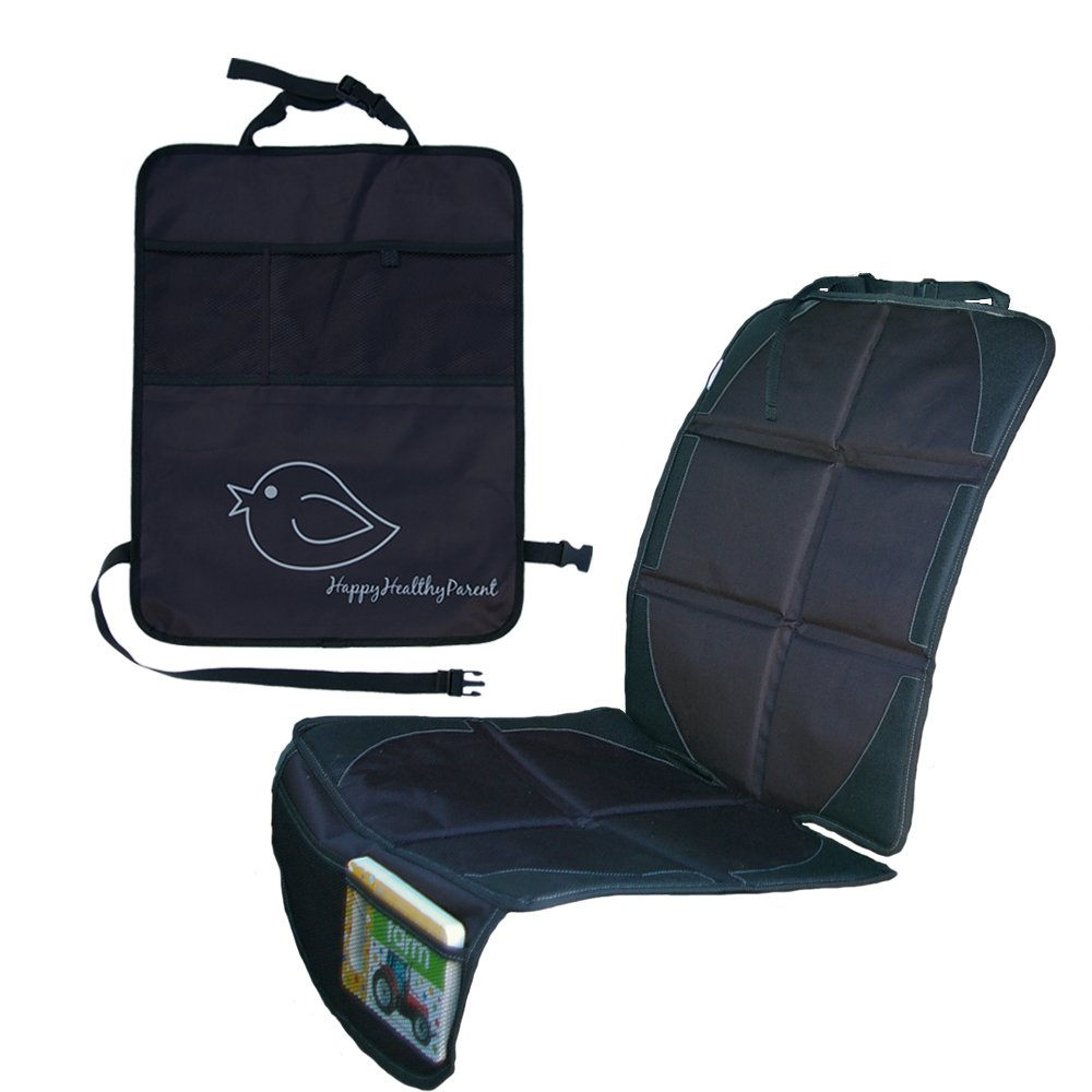 Child Car Seat Protector Makes Cleaning Up Your Car Easier! Thick Padding Preserves Upholstery to Retain Value of Vehicle! Included Kick Mat Organizer Allows Easy Access to Baby Items! (Single, Black)