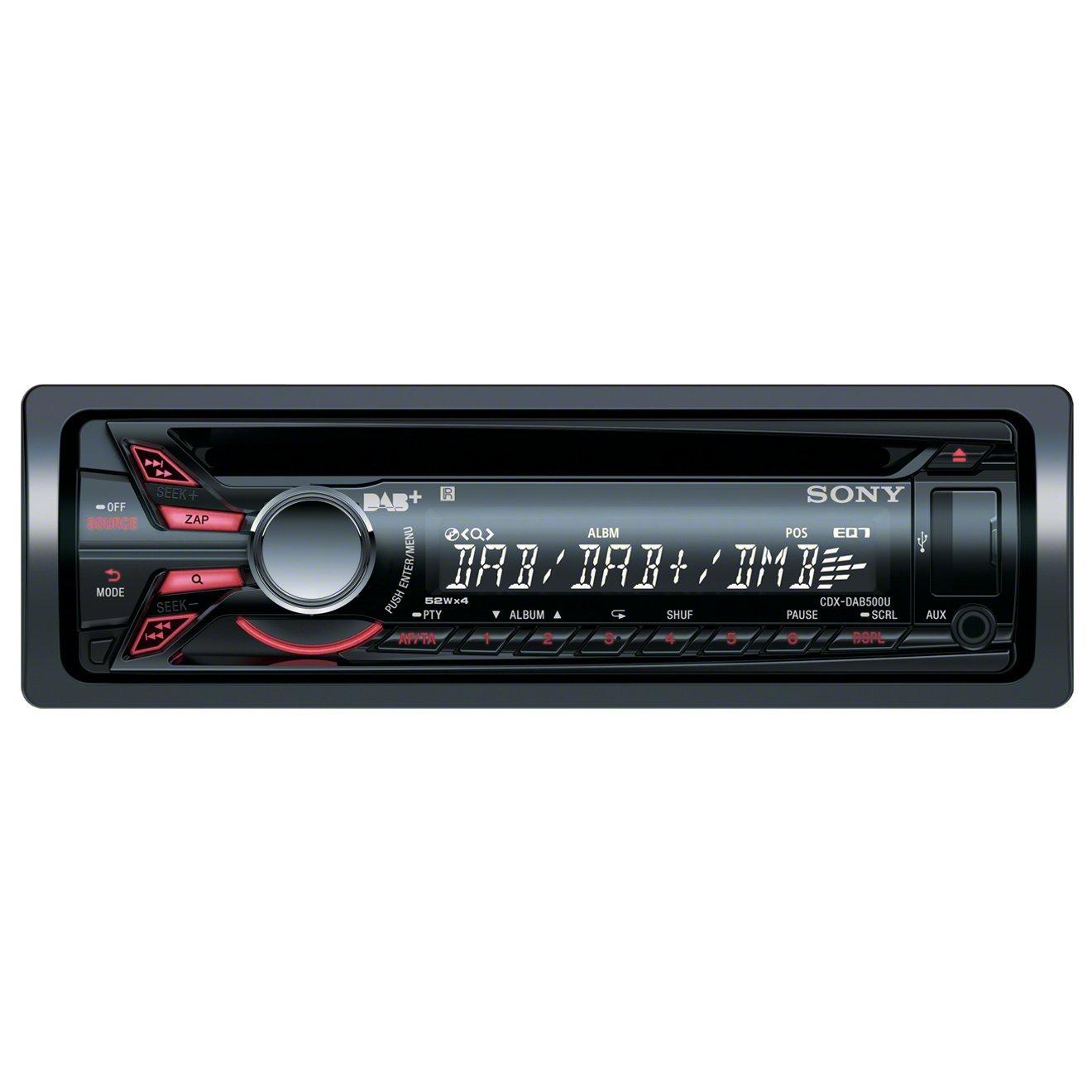 sony cdx dab500u cd mp3 dab digital radio usb aux in ipod iphone sony car radio cd tuner aux usb ipod dab