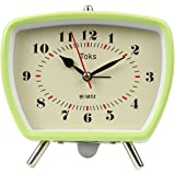 """Lily's Home Vintage Retro Inspired Analog Alarm Clock, Looks Like Miniature Television Set with Silver Legs, Small Stylish Clock Adds Character to Any Bedroom, Green (5 1/2"""" Tall x 5 3/4"""" Wide)"""