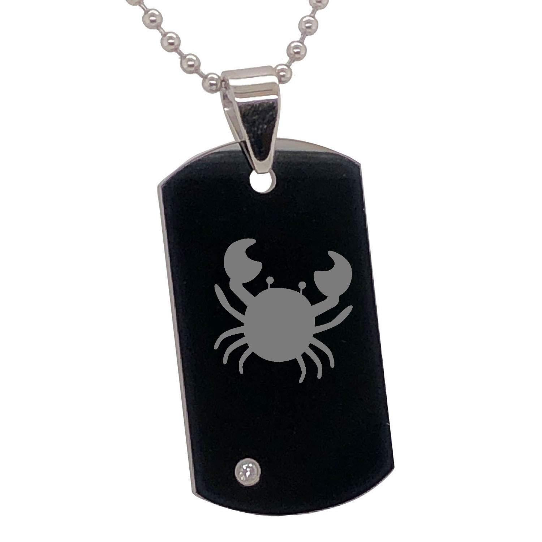 FlameReflection Tungsten Astrology Zodiac 12 Horoscope Engraved Black /& Silver CZ Pendant Necklace Part E