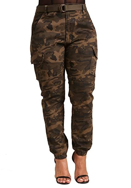 52800106bcb Deb Shops Debshops Womens Plus Size Camo Belted Cargo Jogger Pants 3XL Olive