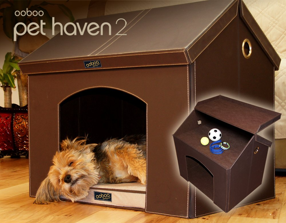 Pet Haven Brown Indoor Dog House   Indoor Cat House with Memory Foam Dog Bed and Attic Storage (Small Dog or Cat 21 )