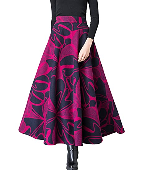 d5ca3b7b1f Femirah Women's Wool Long Skirt A-Line Pleated Vintage Floral Winter Swing  Skirt: Amazon.co.uk: Clothing