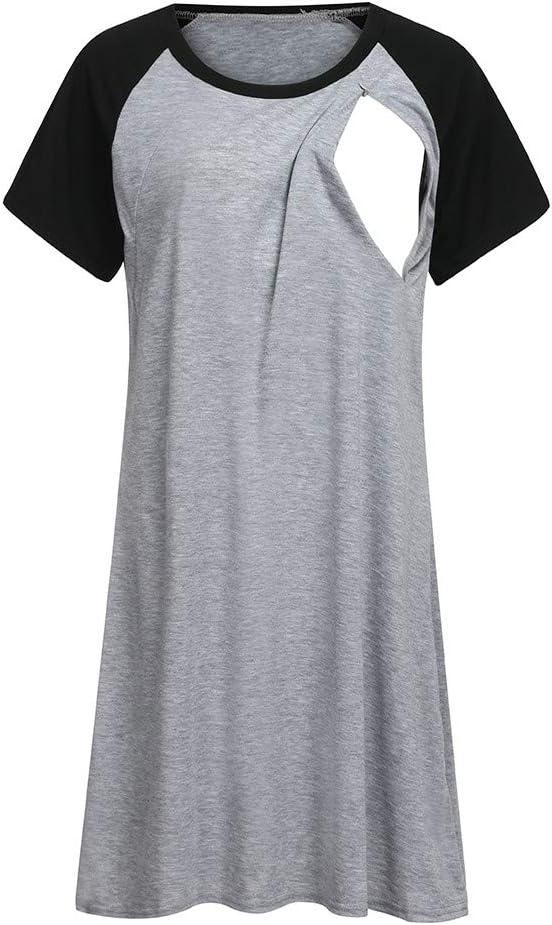 Tronet New Womens Maternity Nursing Cosy Dress Nursing Baby Nightgown Breastfeeding Nightshirt Sleepwear
