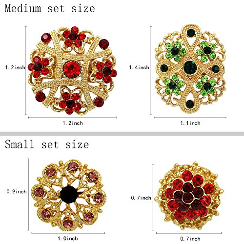 Mutian Fashion Lot 24pc Mixed Color Rhinestone Crystal Flower Brooches Pins by Mutian Fashion (Image #1)