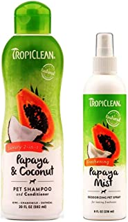 product image for TropiClean Pet Grooming Bundle, 1 Each: Papaya & Coconut Luxury 2-in-1 Shampoo and Conditioner, and Freshening Papaya Mist Deoderizing Spray