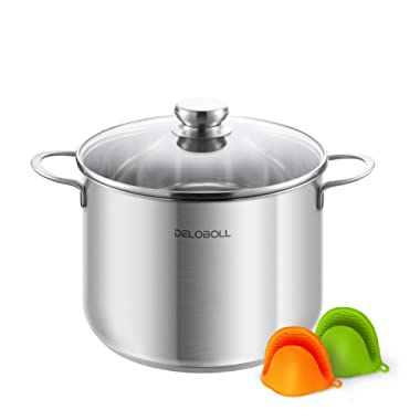 DELOBOLL 8.5 Quart Tri-Ply Covered Stainless Steel Stockpot, TOP Standard, Multi-clad Base Induction Cookware, Dishwasher Safe Soup Pot with Lid + 2 Silicone Oven Mitts Qt