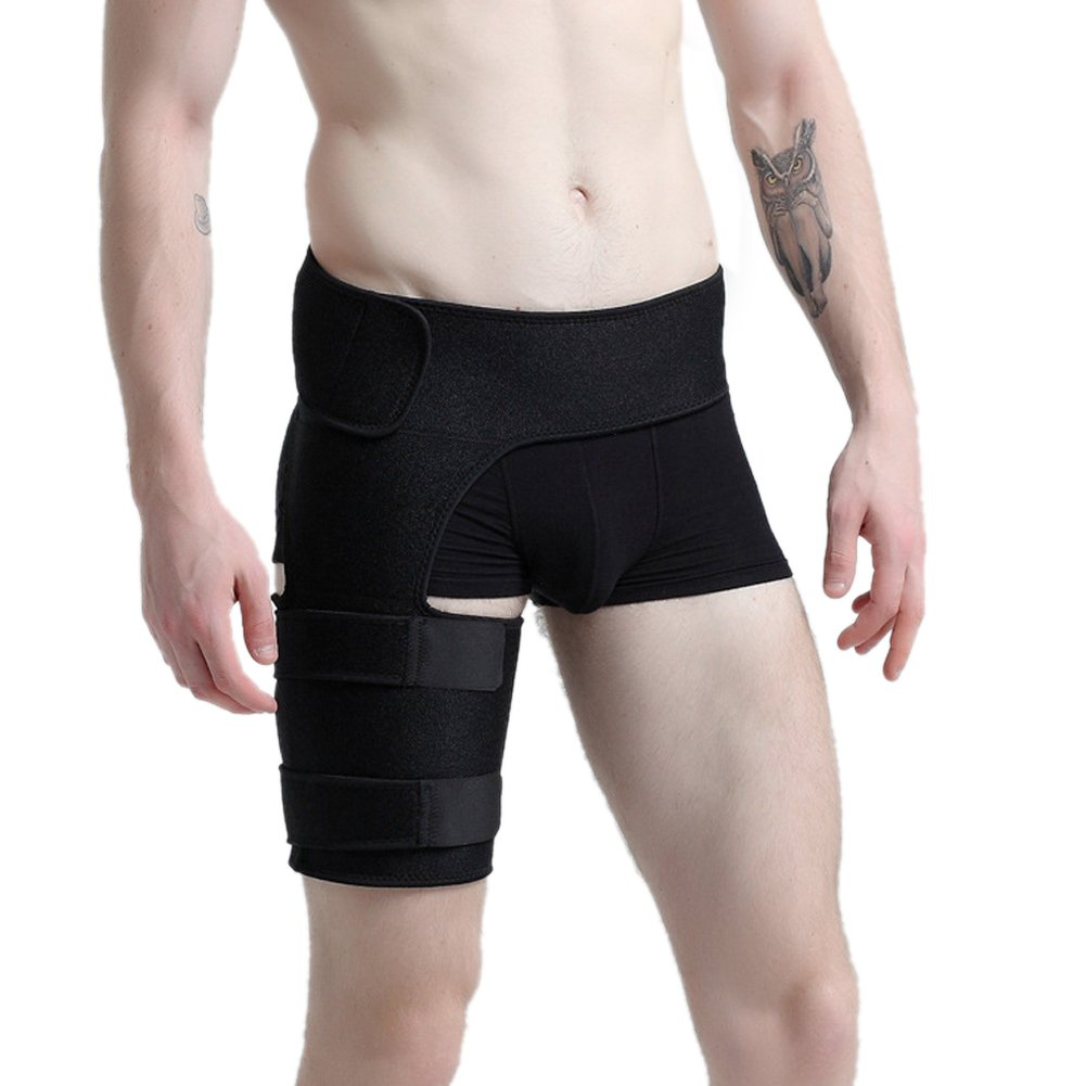 Tebery Compression Wrap for Groin, Relief and Recovery Boost For Sports, Adjustable Thigh Compression Wrap for Injury, Fits Men & Women (Black)