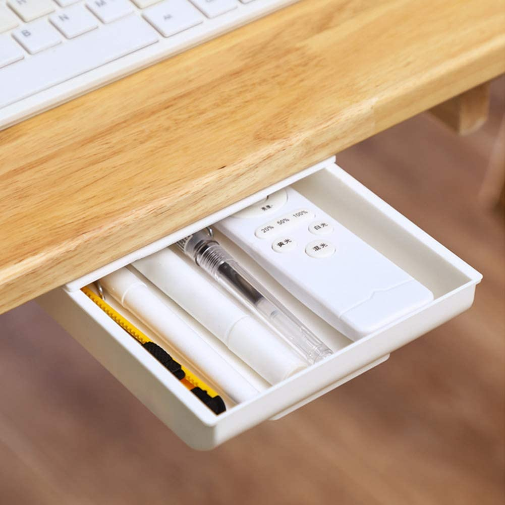 Amazon Com Drawer Storage Box Under Desk Table Multifunction Bedroom Scissors With Screws Sy Install Home Organizer Rulers Mobile Phones Pens Self Adhesive Lwhite Kitchen