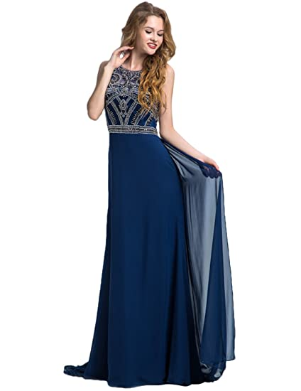 Clearbridal Womens Navy Blue Formal Long Prom Dress Round Collar Bridesmaid Gown Sleeveless with Crystal Beading