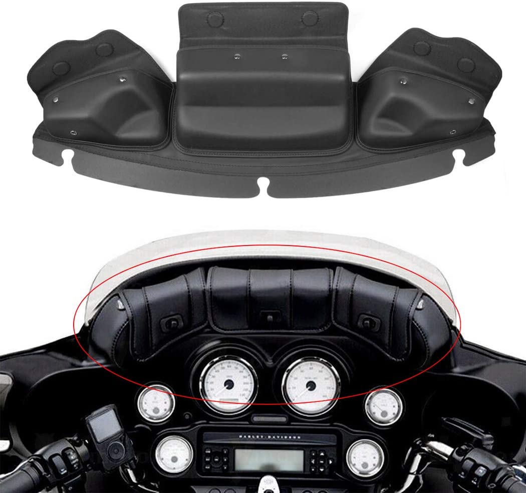 Benlari Black Faring Wndshield Bag 3 Pocket Batwing Pouch Compatible for Harley Davidson Touring Electra Street Glide Trike Ultra Limited 2014-2019