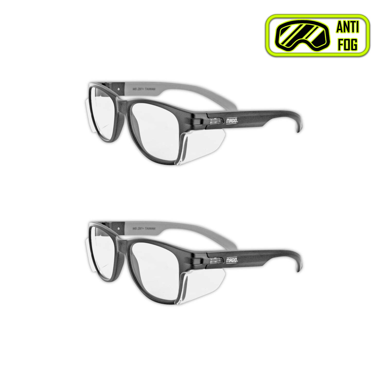 MAGID Y50BKAFC Iconic Y50 Design Series Safety Glasses with Side Shields | ANSI Z87+ Performance, Scratch & Fog Resistant, Comfortable & Stylish, Cloth Case Included, Clear Lens (2 Pair)