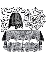 5pack Halloween Decorations Tablecloth Runner Black Lace Round Spider Cobweb Table Cover Fireplace Mantel Scarf Spiderweb Fireplace Scarf Spider Lampshade with 36pcs Scary 3D Bat for Halloween Party