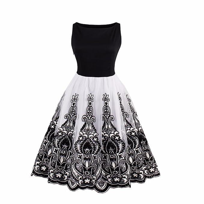 Vestido Vintage Retro sexy vestido de impresión para Mujeres 1950 Vintage Dress elegante patrón Feminino vestidos vestido de giro: Amazon.es: Ropa y ...