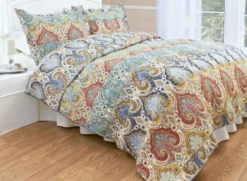 Genoa Reversible Quilt Set, Classic Paisley Patchwork, 3-Piece Set with Quilt and Pillow Shams - Full/Queen, Genoa (Bedding Sets Teal Colored)