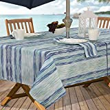 #3: Casual Living by Newbridge Color Stream Indoor Outdoor Polyester Table Linens, 60-Inch by 84-Inch Oblong (Rectangle) with Umbrella Hole and Zipper Tablecloth, Cool