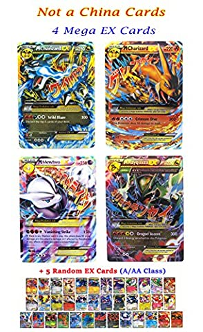 New Mega Cards EX 4 Ultra Rare Set Charizard x 2 - Rayquaza - Mewtwo with Free 5 EX Gold Series Trading Card Games with Box and Cards Sleeve Fast (Mega Charizard Ex Japan)