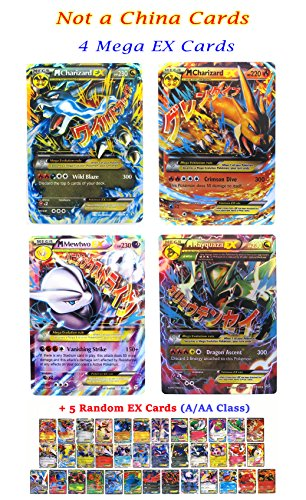 New Mega Cards EX 4 Ultra Rare Set Charizard x 2 - Rayquaza - Mewtwo with Free 5 EX Gold Series Trading Card Games with Box and Cards Sleeve Fast Shipping