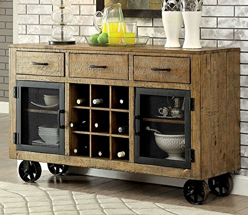 Furniture of America CM3829SV Gianna Rustic Pine Server Dining Room Buffet (Sideboard Small Pine)