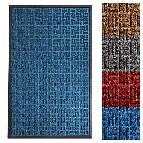 casa pura Entrance Mat | Embossed Front Door Mat | Indoor and Outdoor Entry Rug | Blue | 24