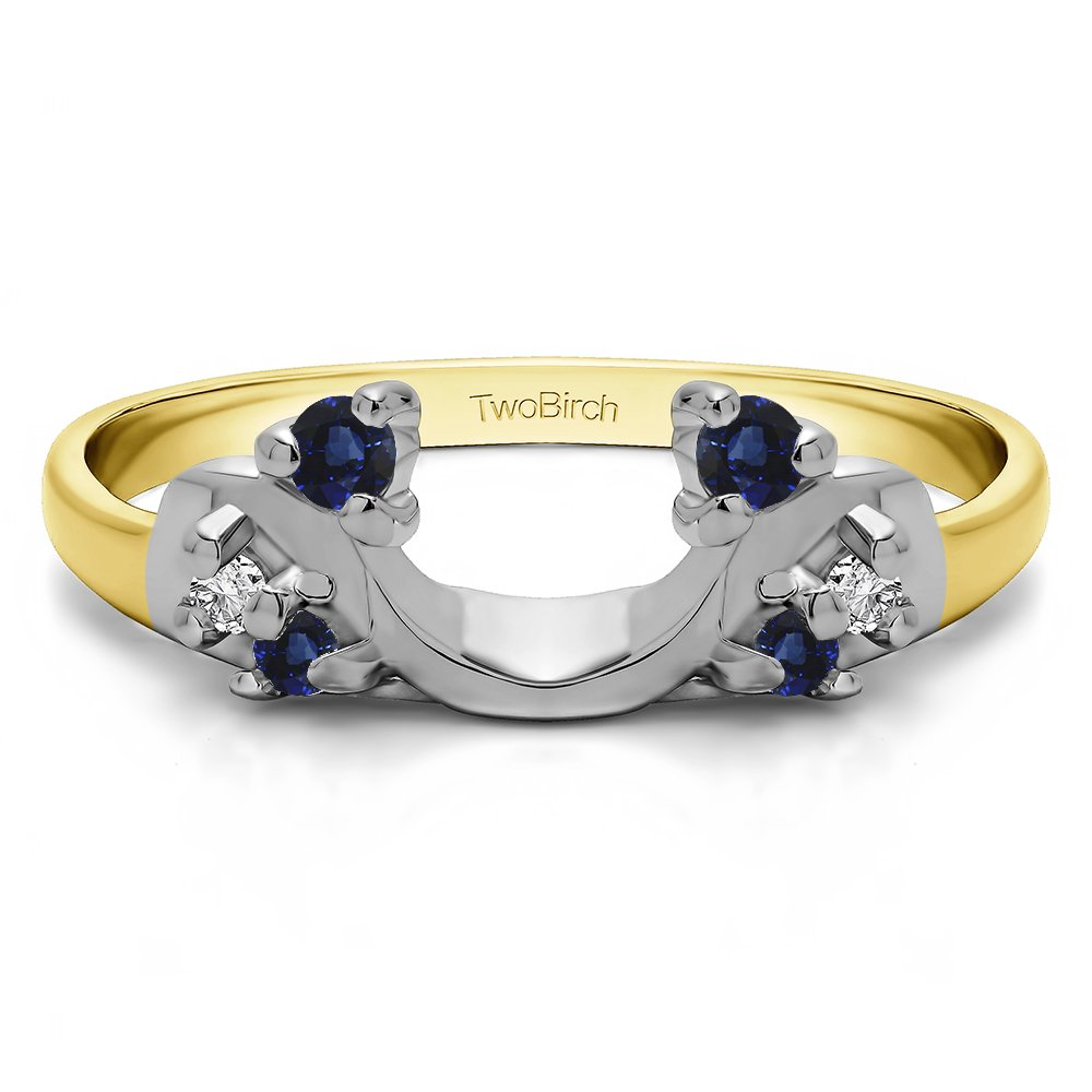 Diamond & Sapphire Ring Enhancer in TwoTone Silver,(G-H,I2)(0.12Ct)Size 3 To 15 in 1/4 Size Interval