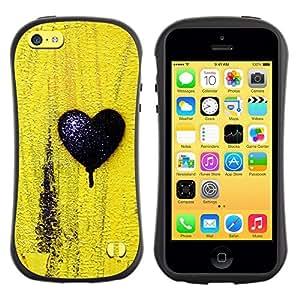 Suave TPU GEL Carcasa Funda Silicona Blando Estuche Caso de protección (para) Apple Iphone 5C / CECELL Phone case / / Black Love Yellow Texture Minimalist /