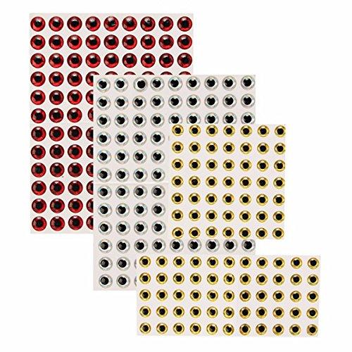 TENGGO 100Pcs 7Mm Mouche Attachant Leurre Faisant 3D Auto Adh/ésif Yeux Outils De P/êche P/êche Leurres-Rouge